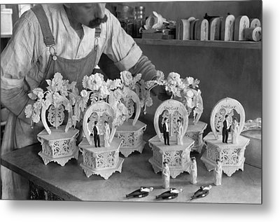 Making Wedding Cake Ornaments Metal Print by Underwood Archives
