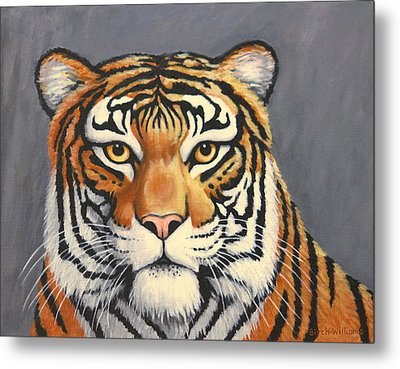 Malayan Tiger Portrait Metal Print by Penny Birch-Williams