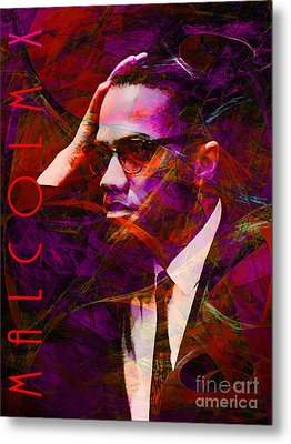 Malcolm X 20140105m28 With Text Metal Print
