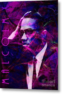 Malcolm X 20140105m88 With Text Metal Print by Wingsdomain Art and Photography
