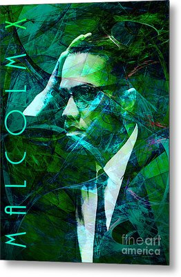 Malcolm X 20140105p138 With Text Metal Print by Wingsdomain Art and Photography