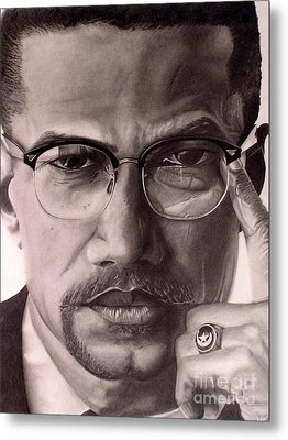 Malcolm X Metal Print by Wil Golden