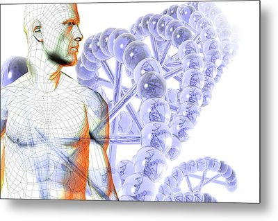 Male Figure With Dna Metal Print
