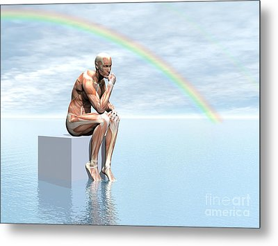 Male Musculature Sitting On A Cube Metal Print by Elena Duvernay