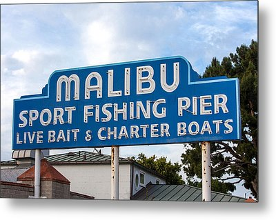 Malibu Pier Sign Metal Print by Art Block Collections