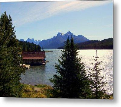 Maligne Lake Boathouse Metal Print by Karen Wiles