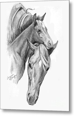 Mama And Baby Horse Metal Print by Suzanne Schaefer