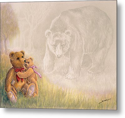 Metal Print featuring the drawing Mama I Saw A Big Bear by Ethel Quelland