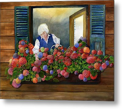 Mama's Window Garden Metal Print