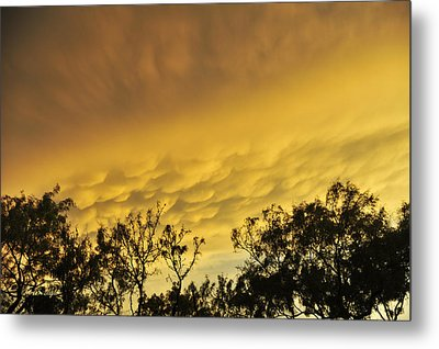 Metal Print featuring the photograph Mammatus Clouds At Sunset by Karen Slagle