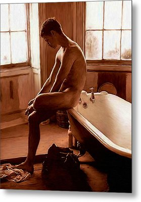 Man And Bath Metal Print by Troy Caperton