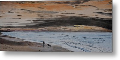 Man And Dog On The Beach Metal Print