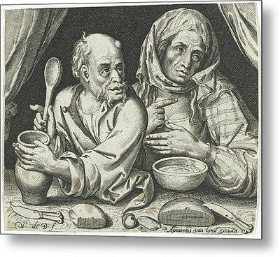 Man And Woman Eating Porridge, Nicolaes De Bruyn Metal Print by Nicolaes De Bruyn And Assuerus Van Londerseel