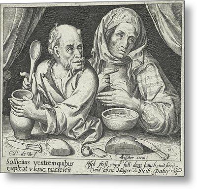 Man And Woman Eating Porridge, Nicolaes De Bruyn Metal Print by Nicolaes De Bruyn And Claes Jansz. Visscher (ii)