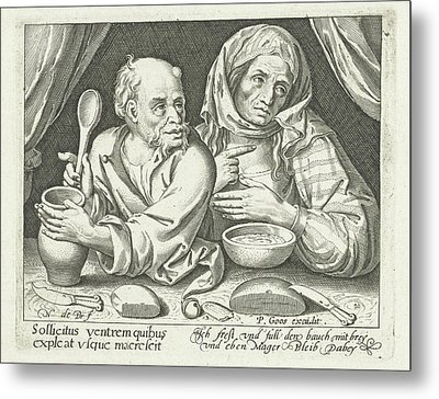 Man And Woman Eating Porridge, Nicolaes De Bruyn Metal Print by Nicolaes De Bruyn And Pieter Goos