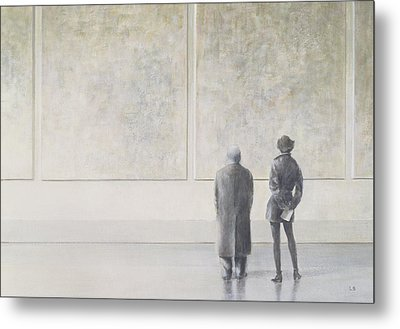 Man And Woman In An Art Gallery Metal Print