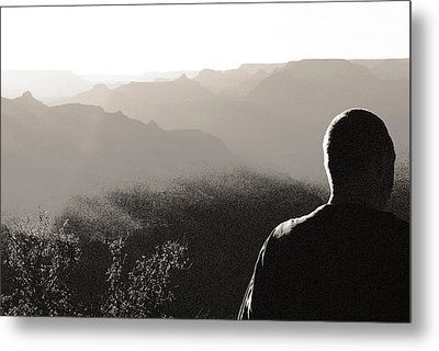 Man At Grand Canyon Metal Print by Arkady Kunysz