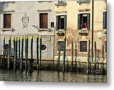 Man At Window By Piers In Venice Metal Print by Sami Sarkis