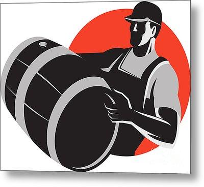 Man Carrying Wine Barrel Cask Keg Retro Metal Print by Aloysius Patrimonio