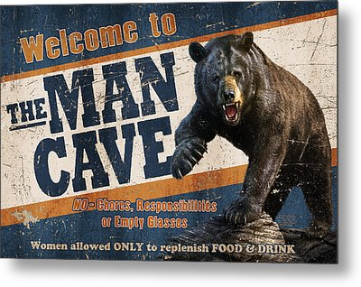 Man Cave Balck Bear Metal Print by JQ Licensing