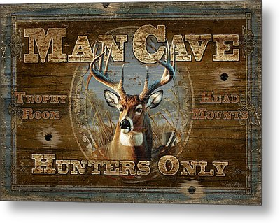Man Cave Deer Metal Print by JQ Licensing
