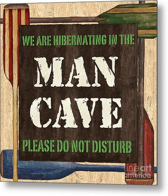 Man Cave Do Not Disturb Metal Print by Debbie DeWitt