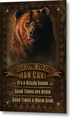Man Cave Grizzly Metal Print by JQ Licensing