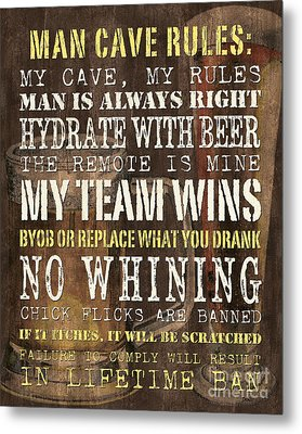 Man Cave Rules 2 Metal Print