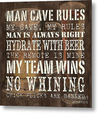 Man Cave Rules Square Metal Print by Debbie DeWitt
