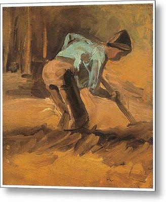 Man Digging Metal Print by Vincent van Gogh