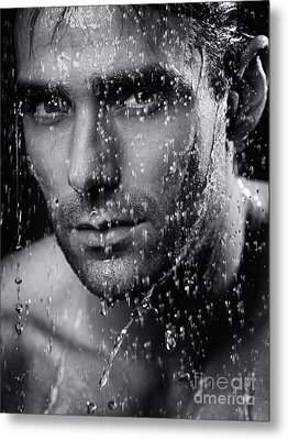 Man Face Wet From Water Running Down It Black And White Metal Print by Oleksiy Maksymenko