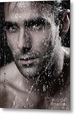 Man Face Wet From Water Running Down It Metal Print by Oleksiy Maksymenko