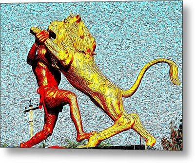 Man Fighting With Lion Bravery Metal Print by Deepti Chahar
