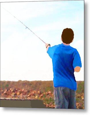 Man Fishing Metal Print