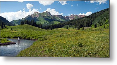 Man Fly-fishing In Slate River, Crested Metal Print
