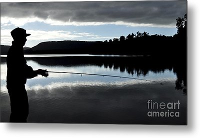 Man Fly Fishing Metal Print by Judith Katz