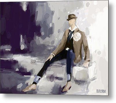 Man In A Fedora Fashion Illustration Art Print Metal Print