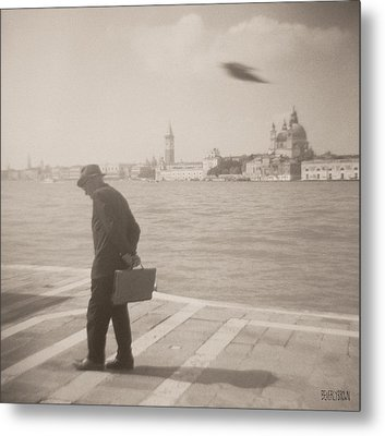 Man In Fedora With Bird Metal Print by Beverly Brown