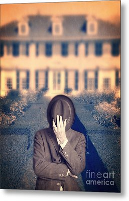Man In Front Of Mansion  Metal Print by Edward Fielding