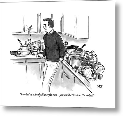 Man In Kitchen Surrounded By Dishes Metal Print by Carolita Johnson