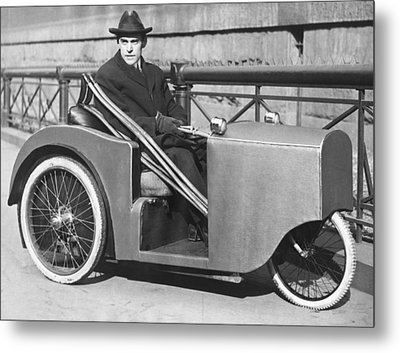 Man In Motorized Wheelchair Metal Print by Underwood Archives