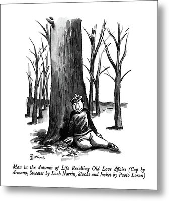 Man In The Autumn Of Life Recalling Old Love Metal Print