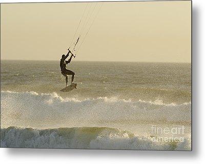 Man Kitesurfing On High Waves Metal Print by Sami Sarkis