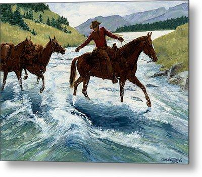 Pack Horses Crossing River Metal Print by Don  Langeneckert