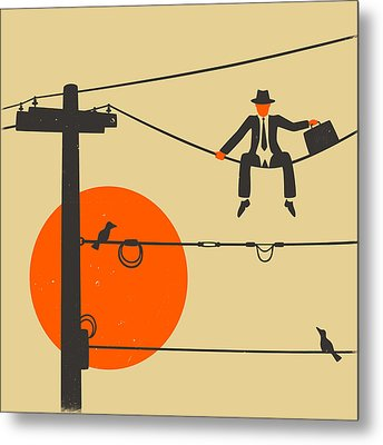 Man On A Wire Metal Print