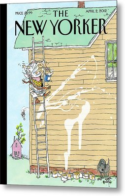 Man On Ladder Painting House Making A Mess Metal Print by George Booth