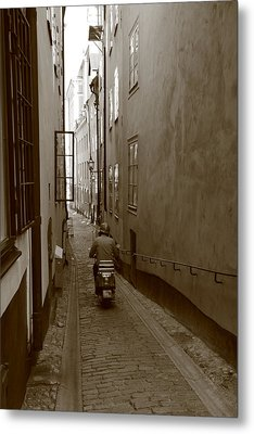 Man On Motor Scooter In A Narrow Alley - Monochrome Metal Print by Ulrich Kunst And Bettina Scheidulin