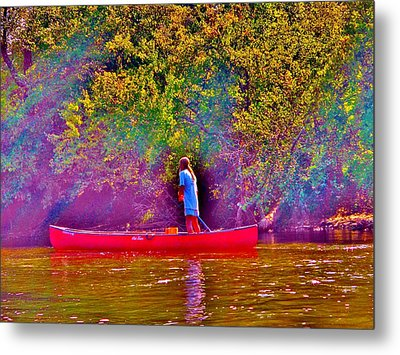 Man On River Metal Print by Hominy Valley Photography