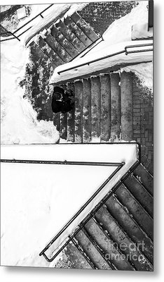 Man On Staircase Concord New Hampshire 2015 Metal Print by Edward Fielding