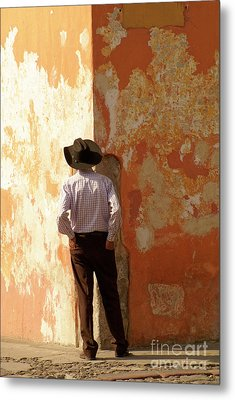 Metal Print featuring the photograph Man On The Corner Antigua Guatemala by John  Mitchell